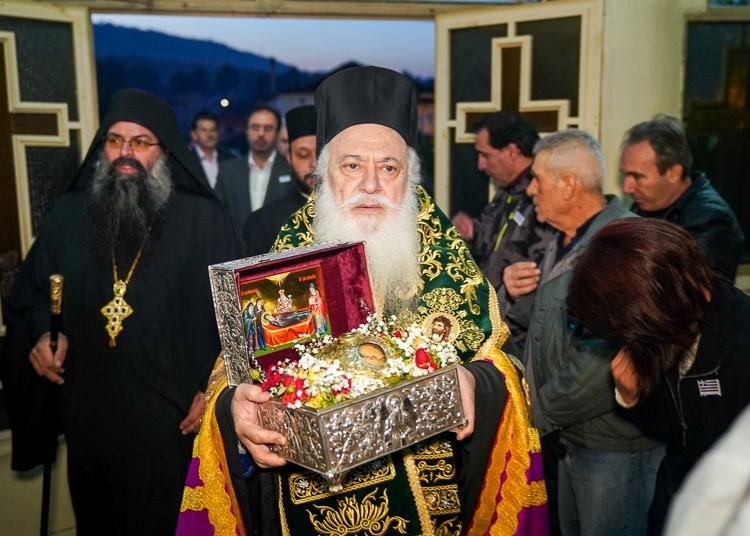 Tην τιμία κάρα του Οσίου Δαβίδ του εν Ευβοία υποδέχθηκε η Αγία Βαρβάρα Βεροίας