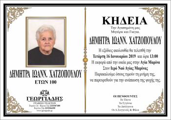 Κηδεύτηκε την Τετάρτη 16 Ιανουαρίου η ΔΗΜΗΤΡΑ ΧΑΤΖΟΠΟΥΛΟΥ, που έφυγε από τη ζωή σε ηλικία 100 ετών