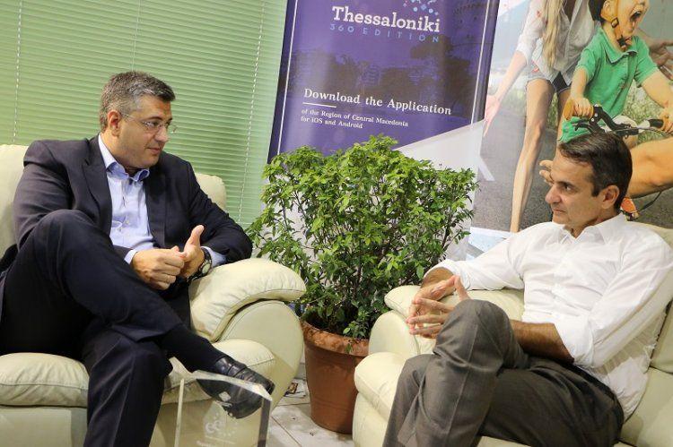 Συνάντηση Τζιτζικώστα-Μητσοτάκη στο περίπτερο της Περιφέρειας κ. Μακεδονίας στην 82η ΔΕΘ