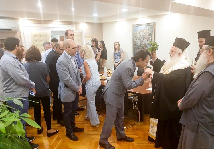 Αγιασμός στο γραφείο του Υφ.Οικονομικών Απ.Βεσυρόπουλου από τον Σεβασμιώτατο Μητροπολίτης Βεροίας κ. Παντελεήμονα
