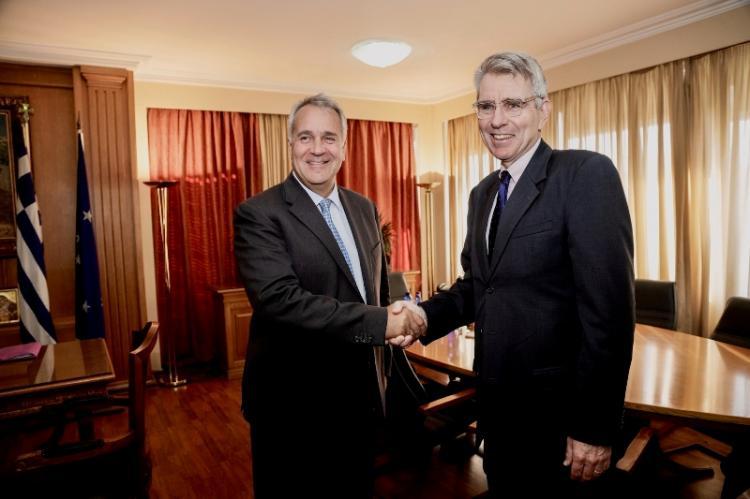 Συνάντηση του Υπουργού Αγροτικής Ανάπτυξης & Τροφίμων, Μ. Βορίδη με τον πρέσβη των ΗΠΑ στην Ελλάδα, Τζέφρι Πάιατ