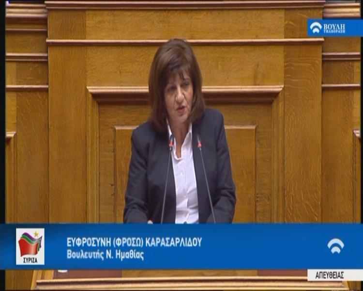 Φρ. Καρασαρλίδου : «Το νομοσχέδιο της κυβέρνησης για τις επενδύσεις εξυπηρετεί τους λίγους και όχι την εθνική οικονομία»