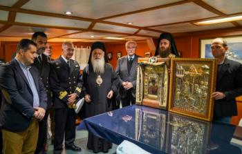 Αναχώρησε από τη Θεσ/νίκη, η Ι. Εικόνα της Παναγίας Σουμελά, μεταφέρθηκε στο αντιτορπιλικό πλοίο «Βέλος». Ακολουθία του Μύρου του Αγ. Δημητρίου