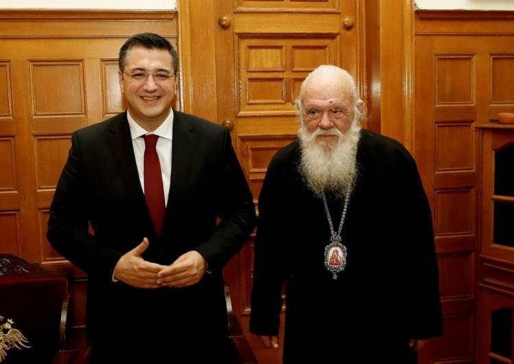 Συνάντηση του Προέδρου της ΕΝΠΕ, Περιφερειάρχη Κ.Μακεδονίας, Απ.Τζιτζικώστα, με τον Αρχιεπίσκοπο Αθηνών και Πάσης Ελλάδος Ιερώνυμο
