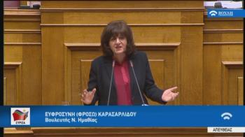 Φρ. Καρασαρλίδου, στην ομιλία της στη Βουλή : «Υπονομεύετε τους νέους και δίνετε θέσεις σε γαλάζιους συνταξιούχους»