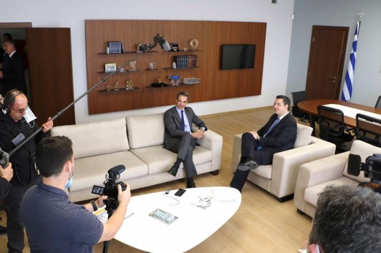Συνάντηση του Περιφερειάρχη Κεντρικής Μακεδονίας Απόστολου Τζιτζικώστα με τον Πρωθυπουργό Κυριάκο Μητσοτάκη