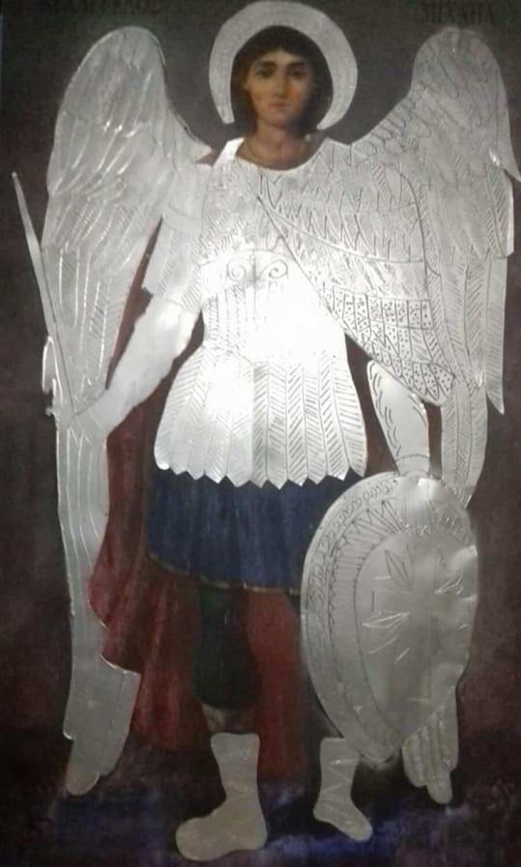 Η τρίμετρη εικόνα του Ταξιάρχη Μιχαήλ από το Μανταμάδο της Λέσβου στην Αγία Παρασκευή Πατρίδας!