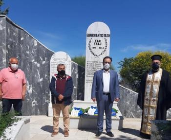 Κατάθεση στεφάνων στο μνημείο της εθνικής αντίστασης στην Πατρίδα